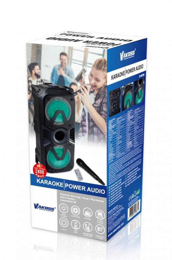 "Karaoke Bluetooth Power Audio SET 24W 2x6.5"" - VAKOSS"