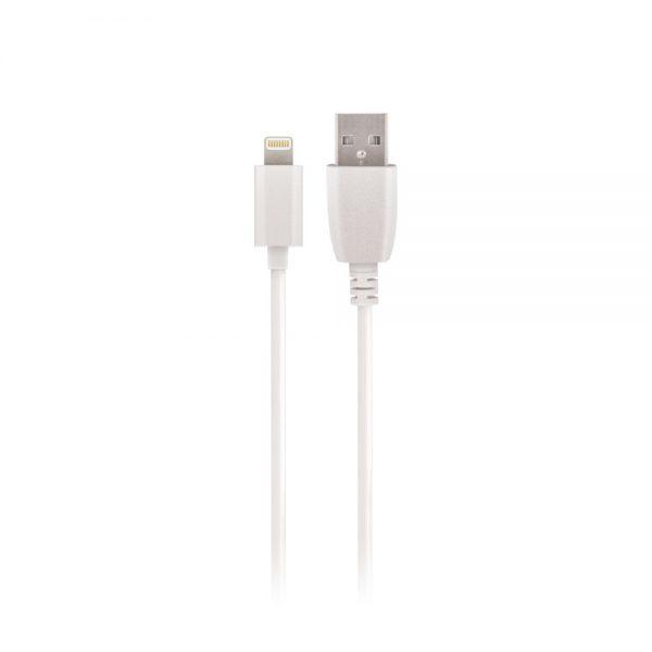 USB auto punjač 2.4A bijeli + iPhone lightening kabel (1m), Bijeli - SETTY