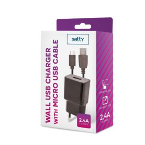 Zidni punjač USB 2.4A i + microUSB kabel (1m), crni - SETTY