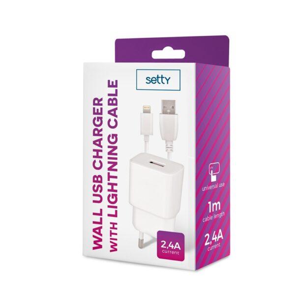 Zidni punjač iPhone Lightning 2.4A Bijeli - SETTY