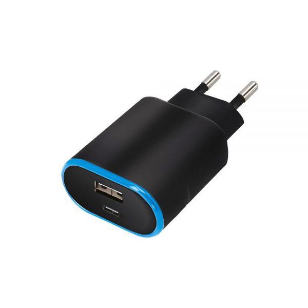 Zidni punjač s priključkom USB + USB-C, Crni - FOREVER