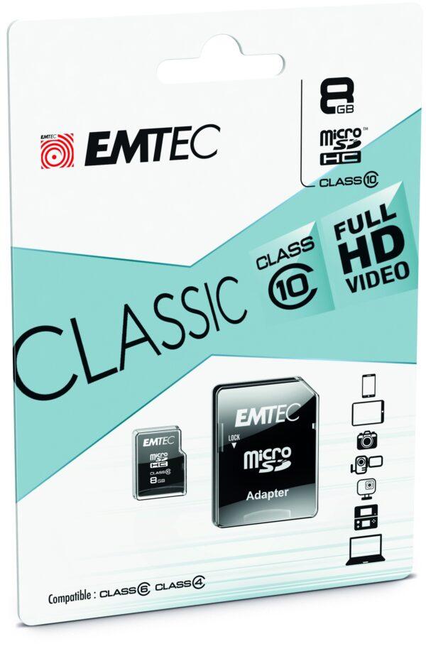 Memorijska kartica MicroSD + SD adapter, 8GB - EMTEC