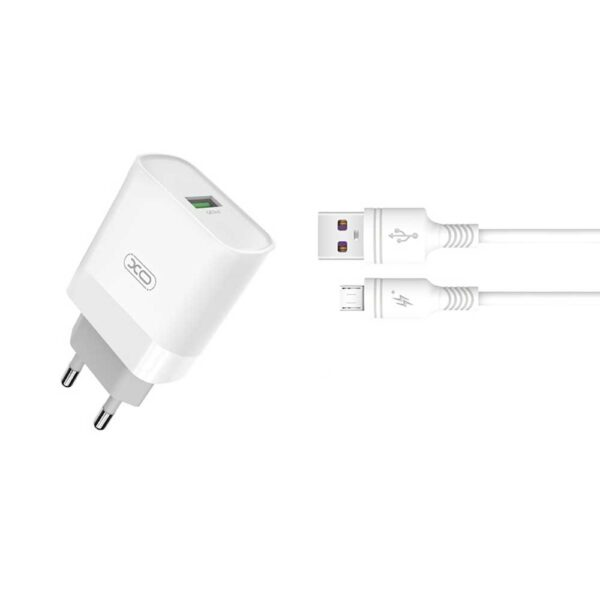 Zidni punjač s Micro-USB kabelom L63 QC 3.0 Bijeli - XO