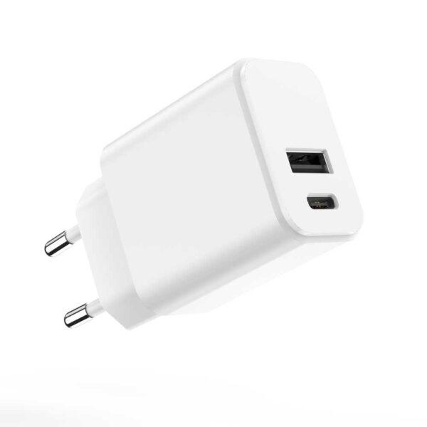Punjač USB-C + USB 20W MXTC-04 PD Bijeli - MAXLIFE