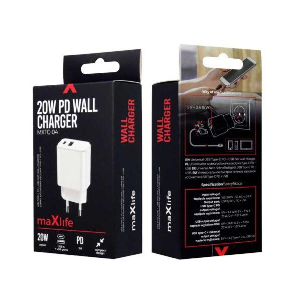 Punjač USB-C + USB 20W MXTC-04 PD Bijeli - MAXLIFE_2
